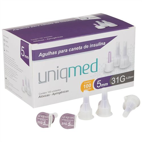 Agulha P/ Caneta de Insulina 31G 5MM Caixa c/ 100 Unidades - UNIQMED