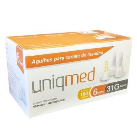 Agulha P/ Caneta de Insulina 31G 6MM Caixa c/ 100 Unidades  - UNIQMED