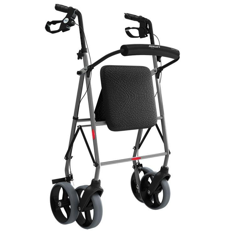 Andador de Alumínio C/ 4 Rodas, Assento e Cesta - MERCUR