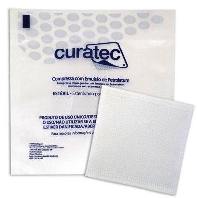 Compressa c/ Emulsão de Petrolatum 7,6 cm X 7,6 cm Caixa c/ 36 Unidades - CURATEC