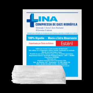 Compressa de Gaze 13 Fios 7,5 cm x 7,5 cm (Pacote c/ 10 Unidades) - LINA