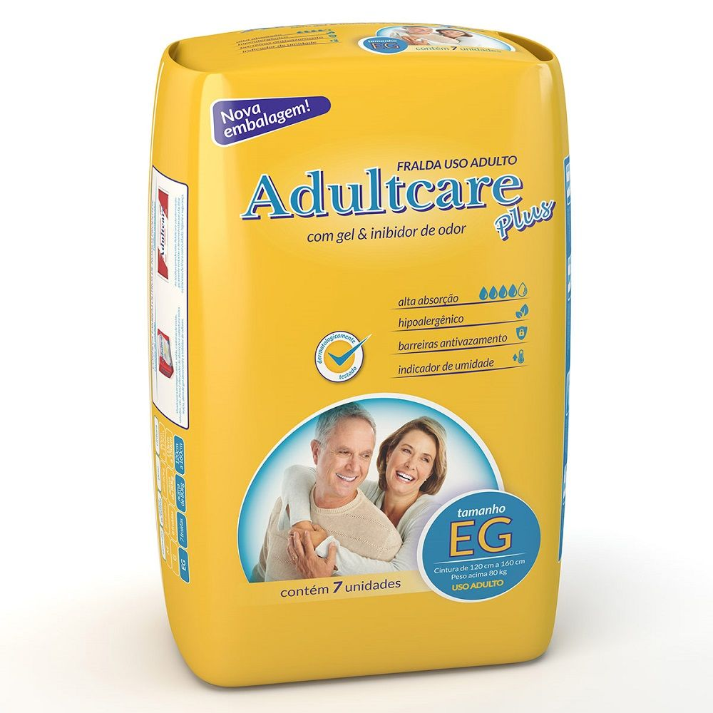 Fralda Plus Geriátrica EG (Pacote c/ 7 Unidades) - ADULTCARE