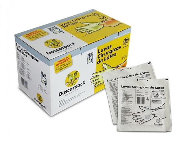 Luva Cirúrgica Estéril 8,0 Caixa C/ 50 Pares - DESCARPACK
