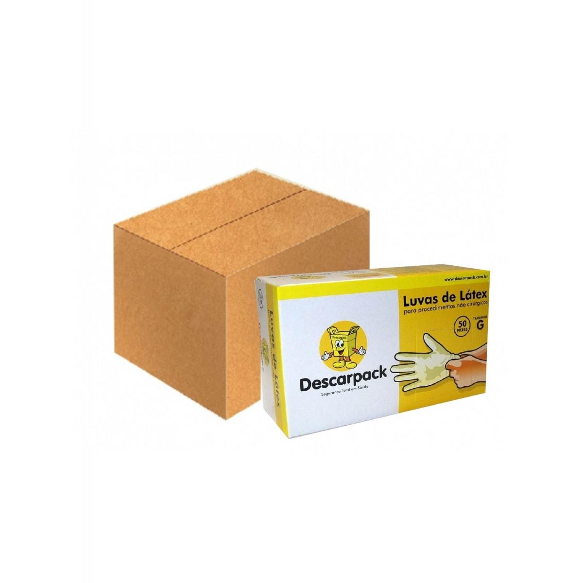 Luva de Procedimento Látex Tamanho M Caixa C/20 Cartuchos - DESCARPACK