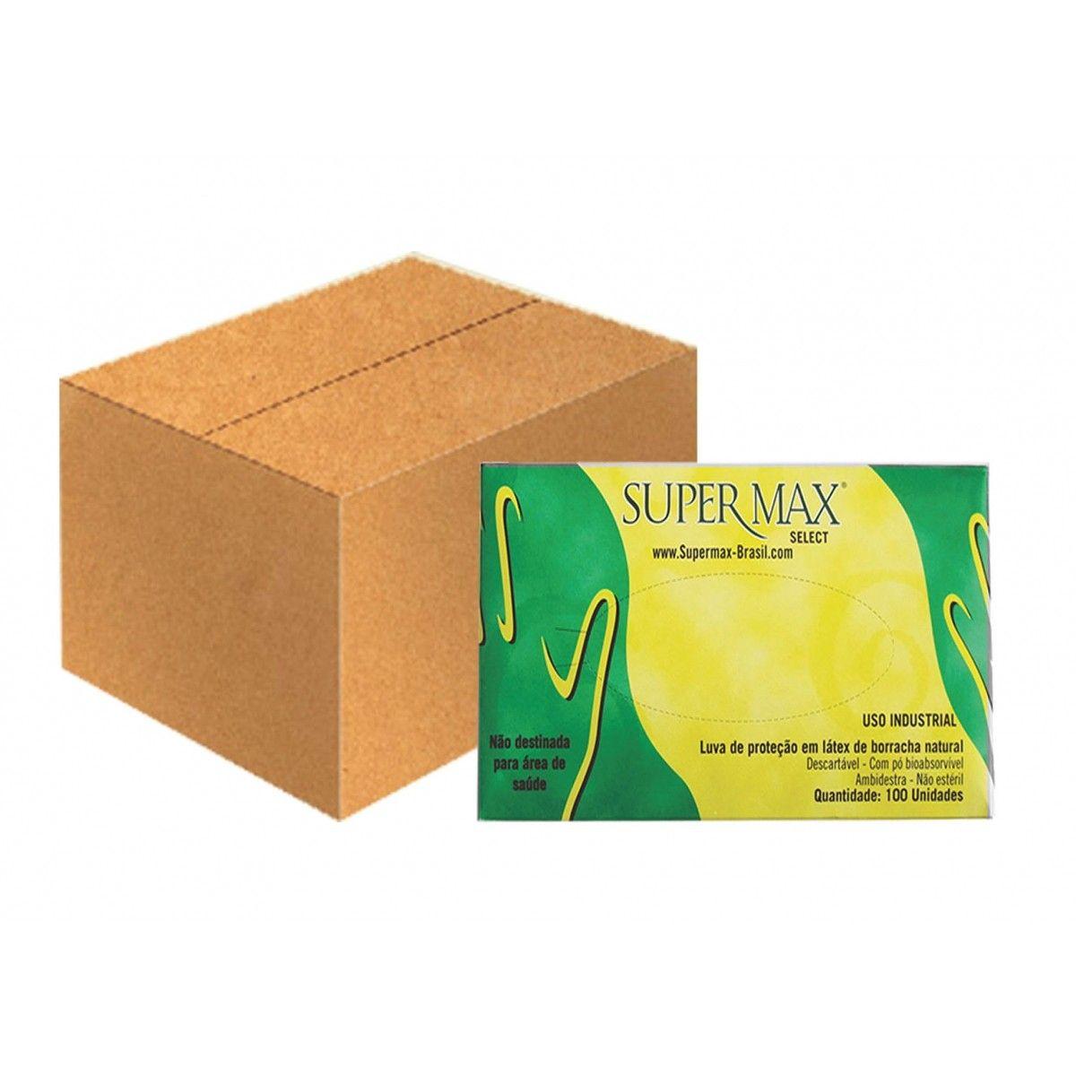 Luva de Procedimento Látex Tamanho G Caixa C/ 10 Cartuchos - SUPERMAX SELECT
