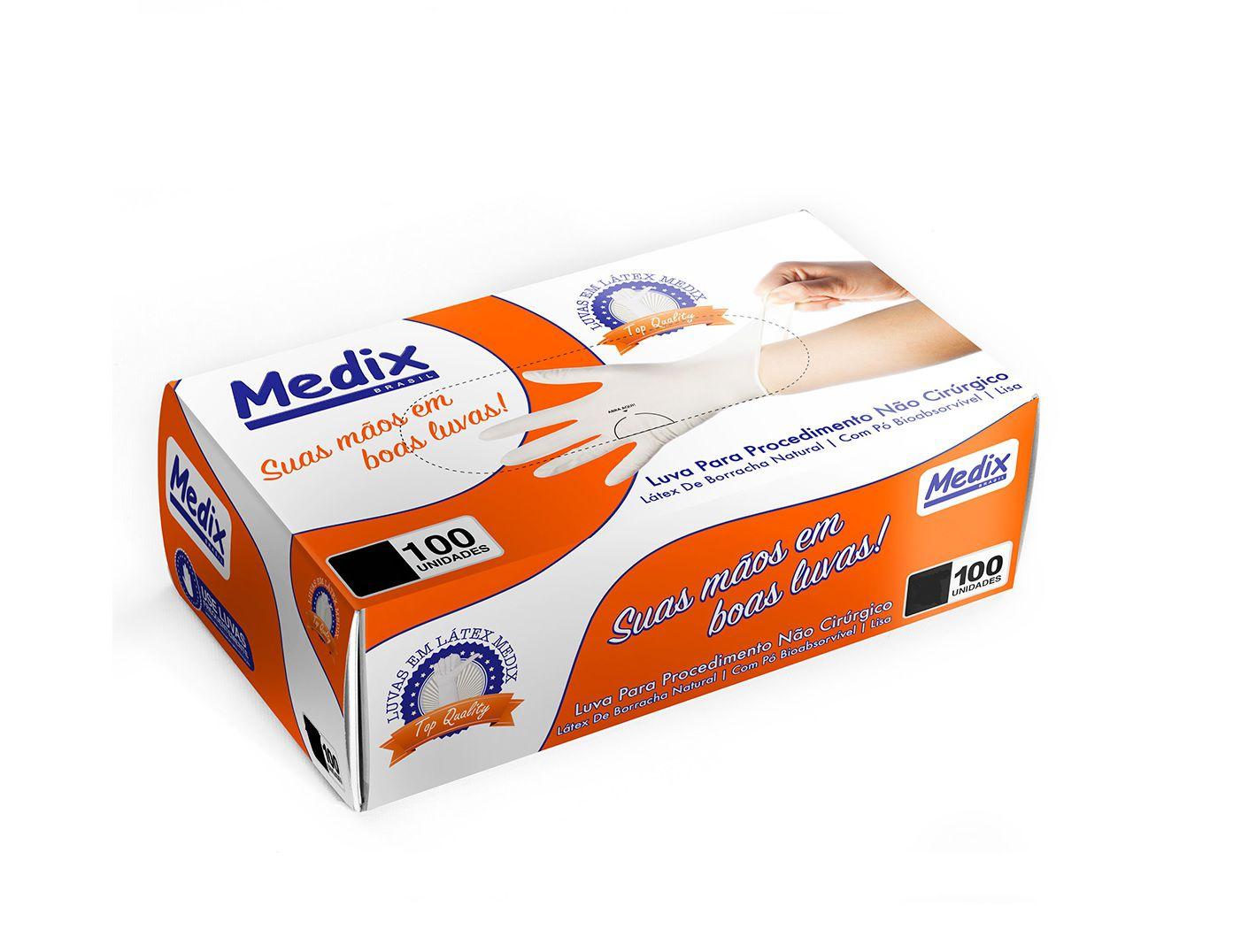 Luva de Procedimento Látex Tamanho PP Caixa c/ 10 Cartuchos - MEDIX