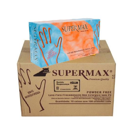 Luva Nitrílica Azul Tamanho P Caixa c/ 10 Cartuchos - SUPERMAX