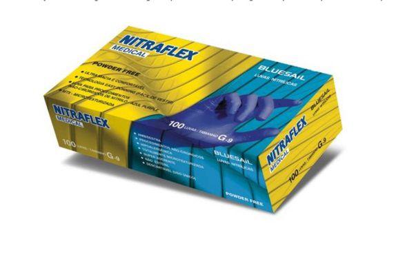 Luva Nitrílica Tamanho M - BLUESAIL NITRAFLEX MEDICAL