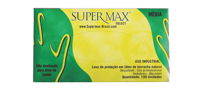 Luva de Procedimento Látex Tamanho M - SUPERMAX SELECT