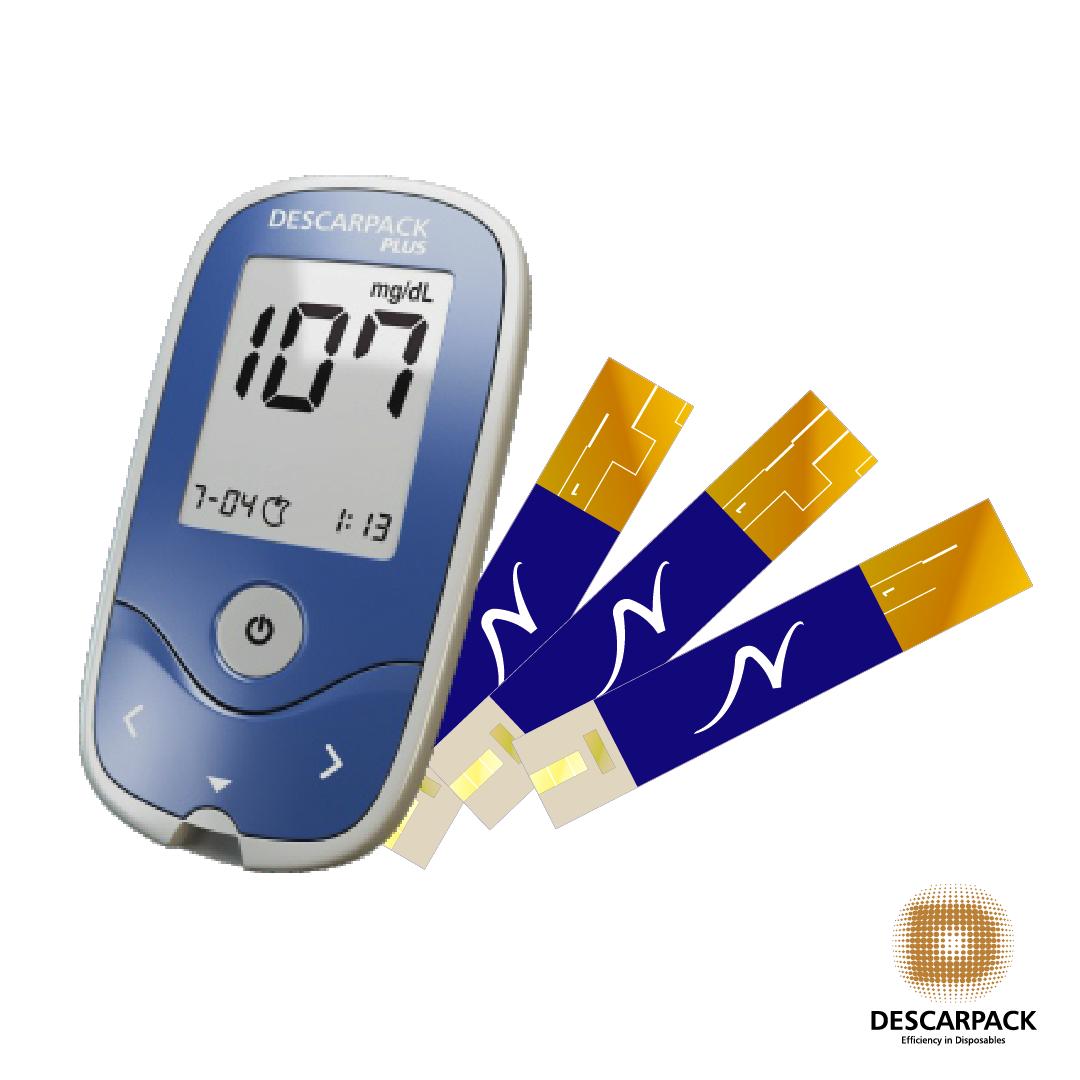 Kit Medidor de Glicemia + 100 tiras - DESCARPACK PLUS