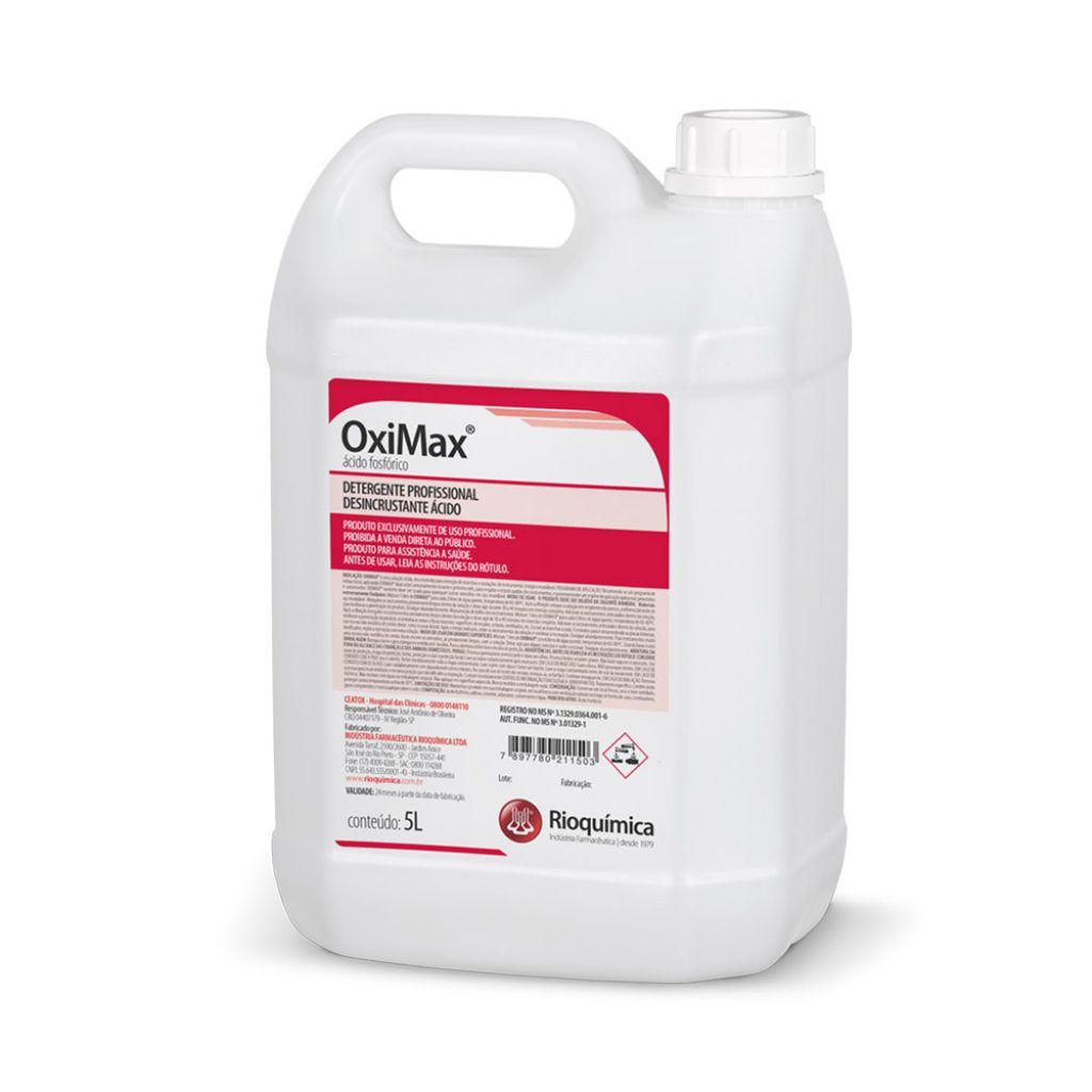 OxiMax Detergente Desincrustante Ácido 5L Caixa c/ 4 Unidades - RIOQUÍMICA