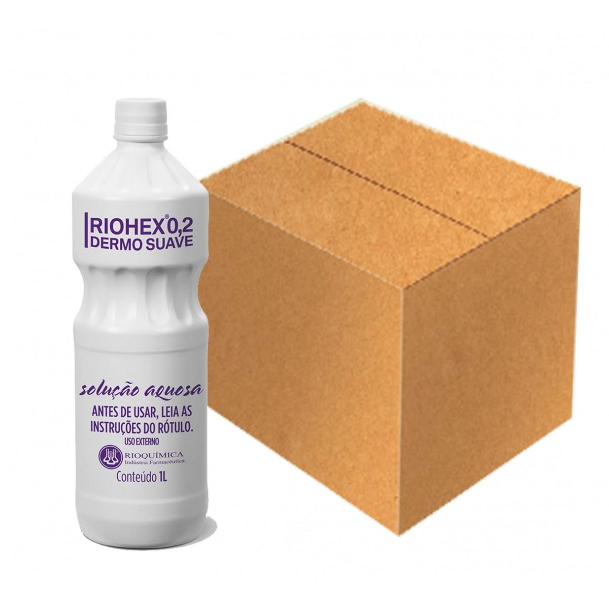 Riohex 0,2% Dermo Suave Solução Aquosa 1L  Caixa c/ 12 Unidades - RIOQUÍMICA