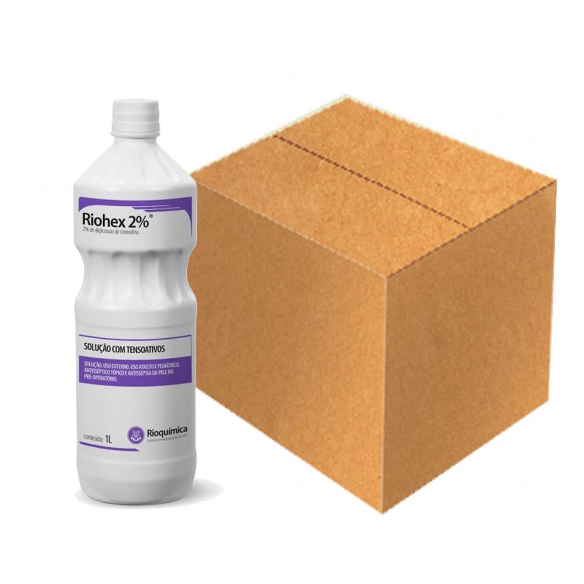 Riohex 2% (2% de Digliconato de Clorexidina com Tensoativos)  1L - Cx. c/ 12 - RIOQUÍMICA