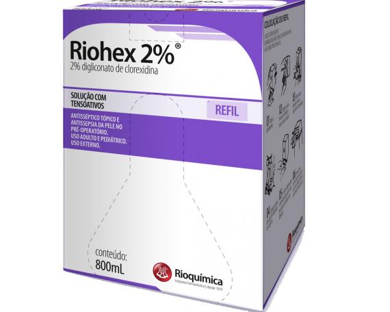 Riohex 2% (2% de Digliconato de Clorexidina com Tensoativos) 800mL  Refil - RIOQUÍMICA