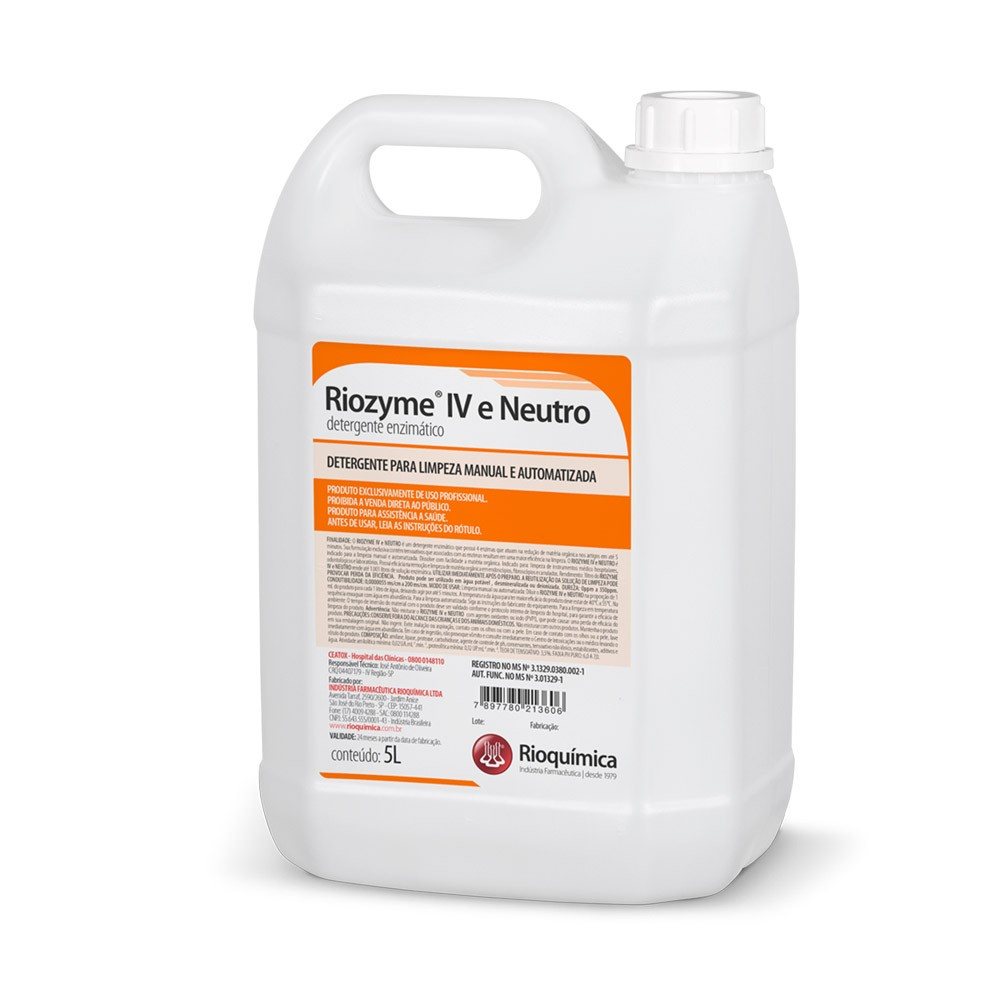 Riozyme IV e Neutro (Detergente Enzimático) 5L - RIOQUÍMICA