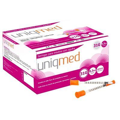 Seringa Insulina 0,3 ml - Agulha 6 mm x 0,25 mm Pacote c/ 10 Unidades - UNIQMED