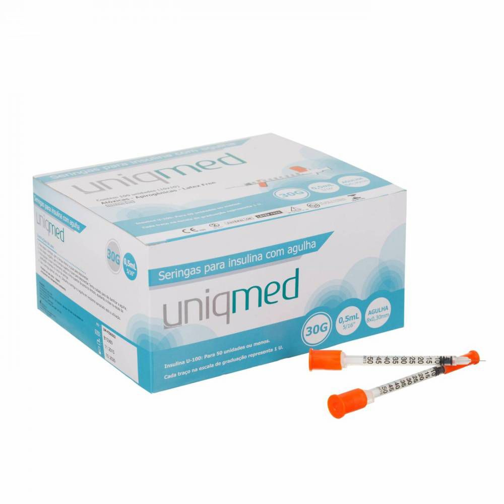 Seringa Insulina 0,5 ml - Agulha 8mm x 0,30 mm (Pacote c/ 10 Unidades) - UNIQMED