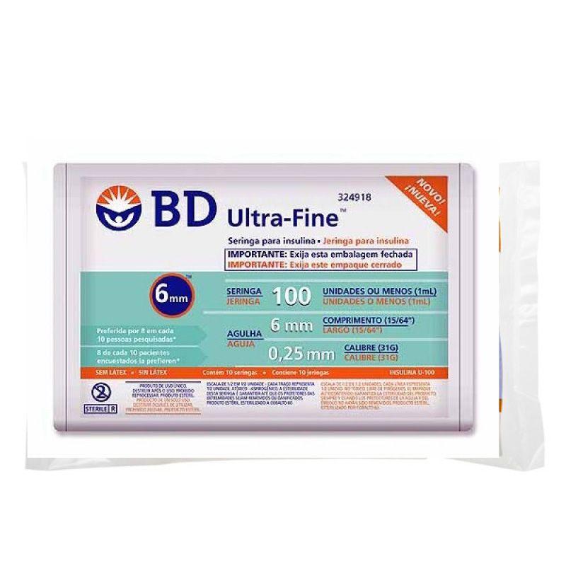 Seringa Insulina 100U - Agulha 6mm x 0,25mm Ultra-Fine Pacote c/ 10 unidades - BD