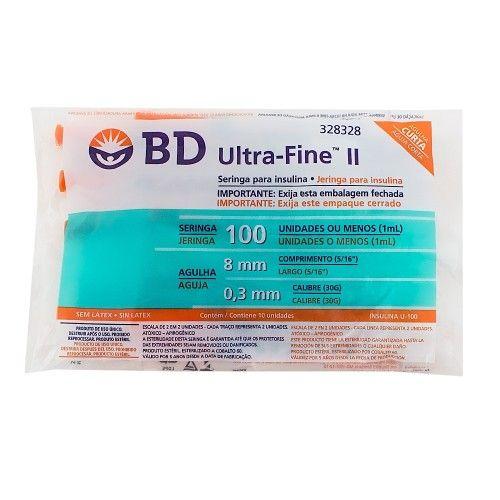 Seringa Insulina 100U - Agulha 8mm x 0,3mm Ultra-Fine Pacote c/ 10 unidades - BD
