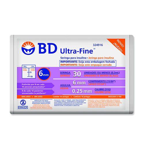 Seringa Insulina 50U - Agulha 6mm x 0,25mm Ultra-Fine Pacote c/ 10 unidades - BD