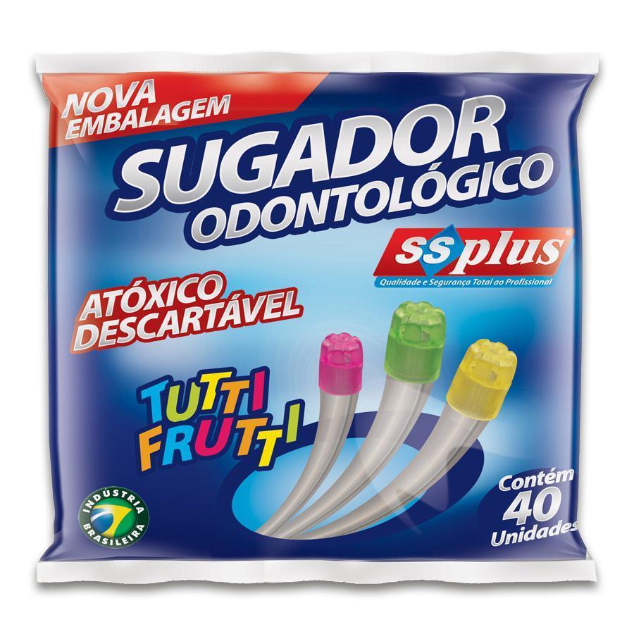 Sugador Odontológico Descartável Pacote c/ 40 Unidades - SSPLUS