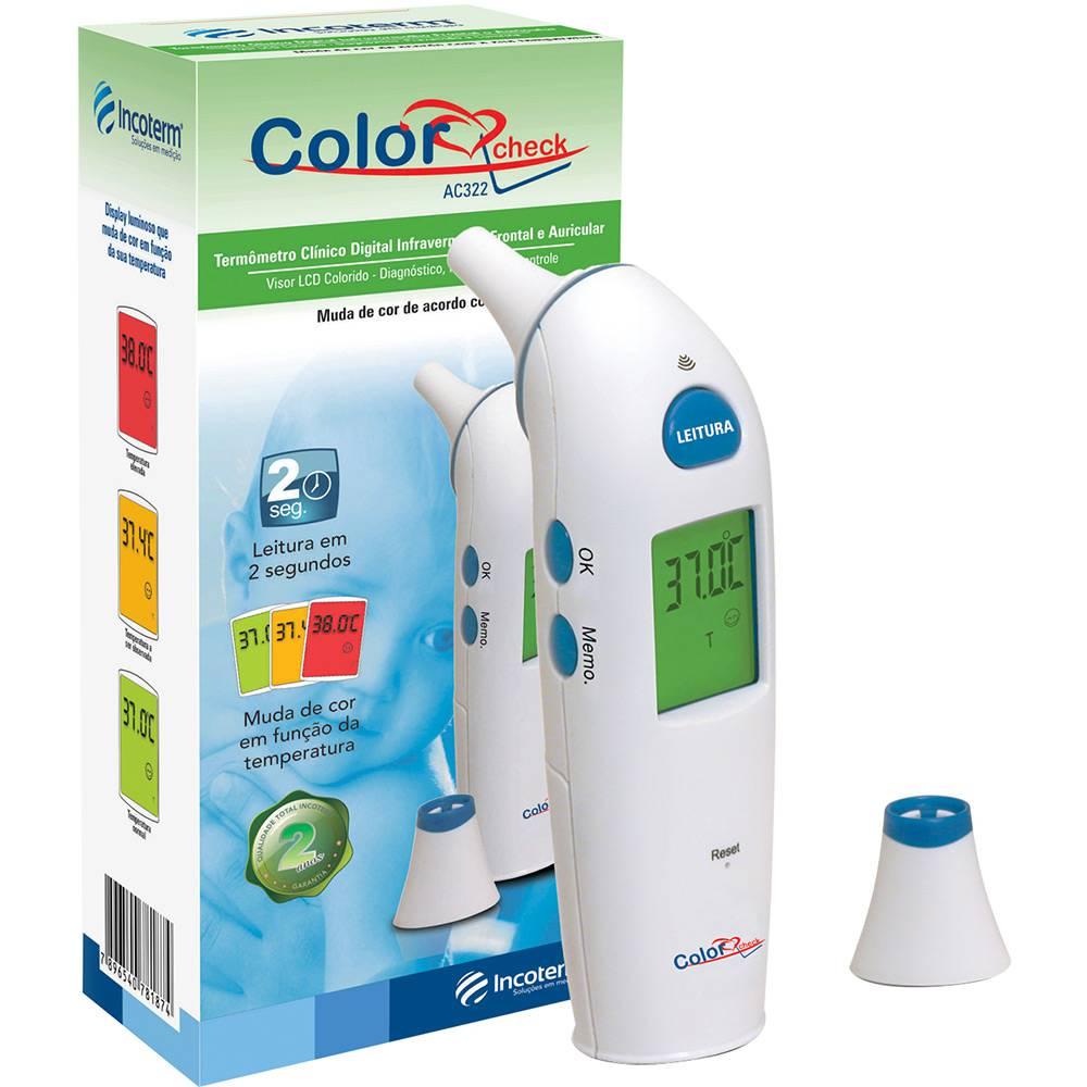 Termômetro Auricular e Frontal Color Check AC322 - INCOTERM