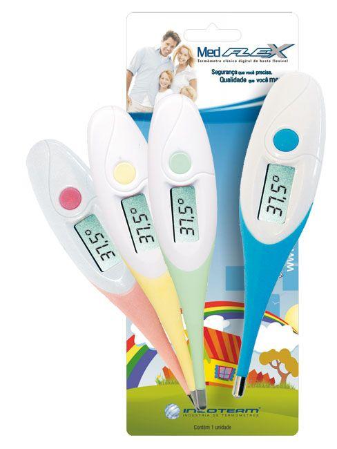 Termômetro Clínico Digital Medflex BRANCO Kids c/haste flexível - INCOTERM