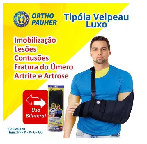 Tipoia Velpeau Luxo Fashion Pauher - P - Bilateral - AC420 - Preta