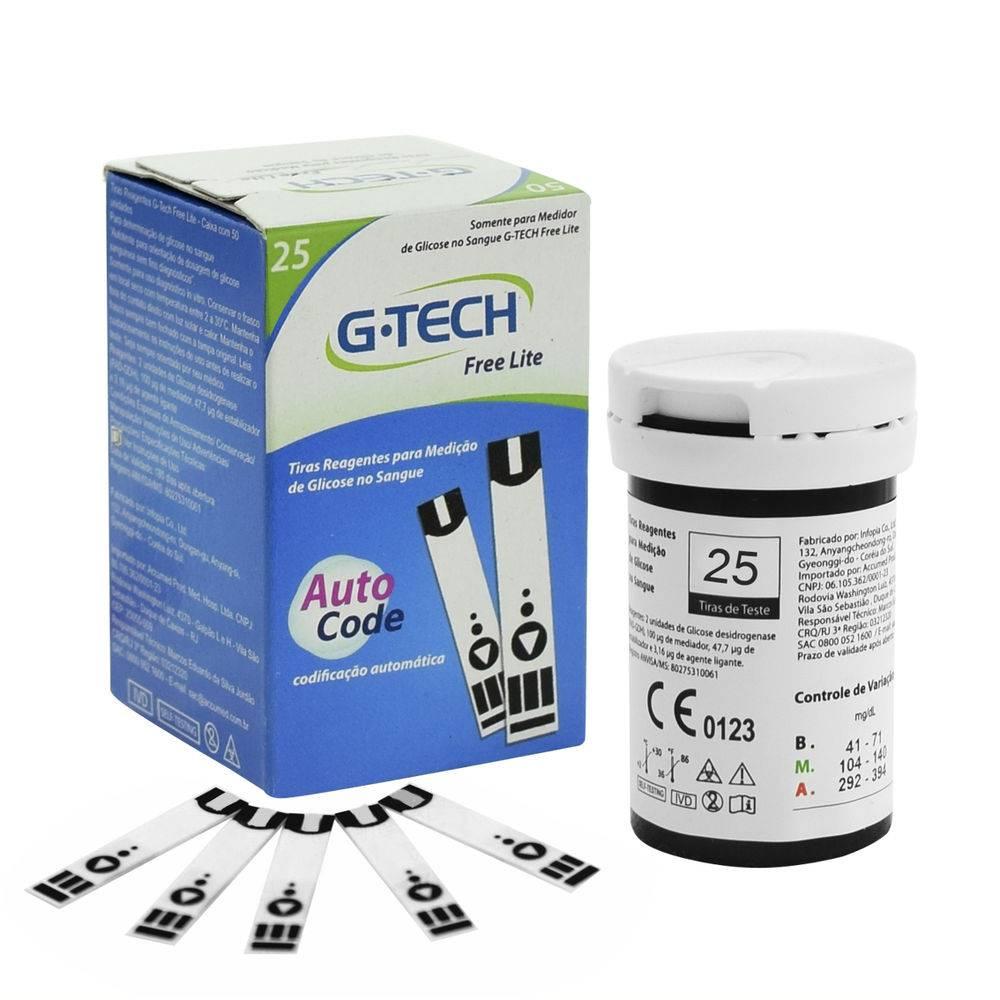 Tira de Glicemia Lite C/ 25 Unidades - G-TECH