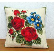 Almofada Rosas Vermelhas e Flores Azuis