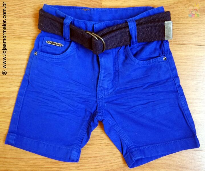 Bermuda Jeans Infantil Azul com Cinto - Ref. 3383