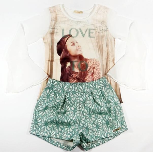 Conjunto Blusa + Shorts Love - REF. 26774