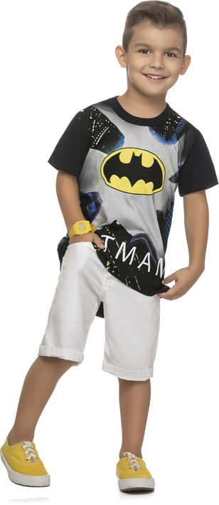 Camiseta infantil masculina do Batman brilha no escuro REF.82090