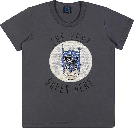 Camiseta Paetê infantil dupla face Batman ref.82088