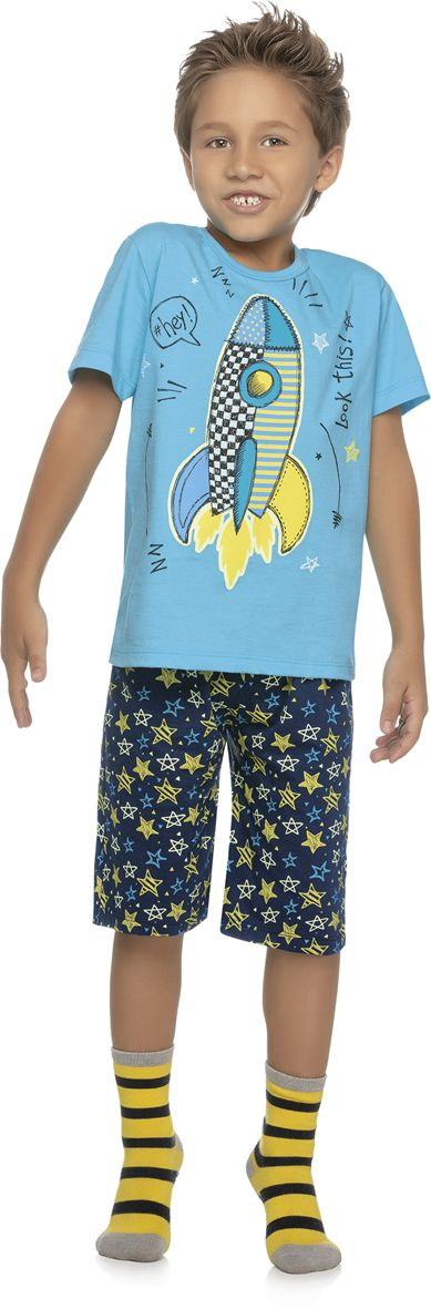 Pijama infantil brilha no escuro foguete REF.11341