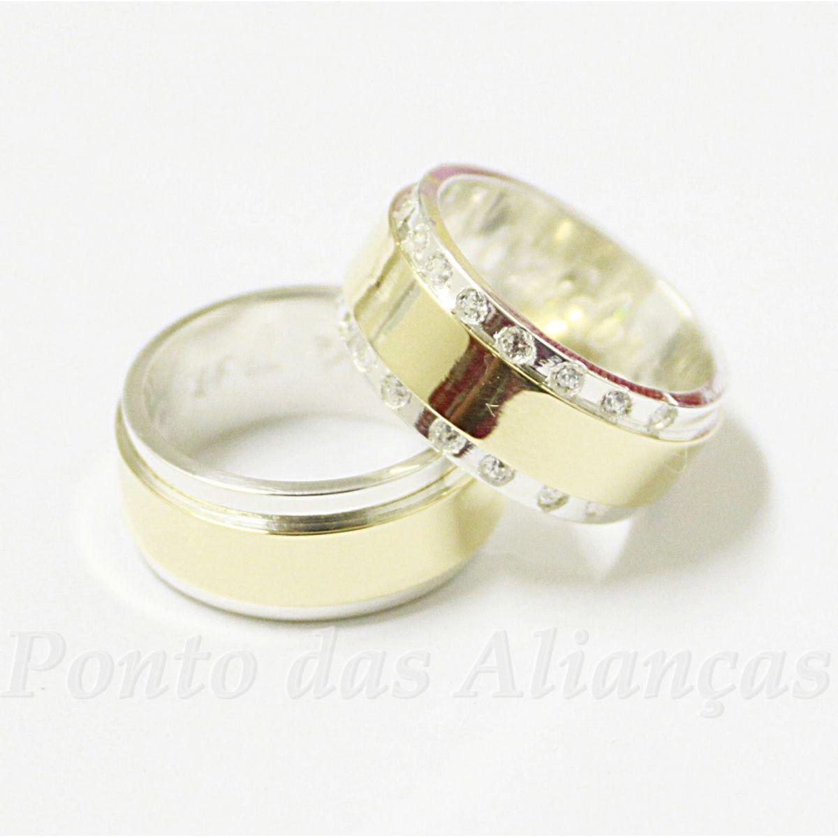 Alianças de Ouro e Prata Casamento ou Noivado - 538