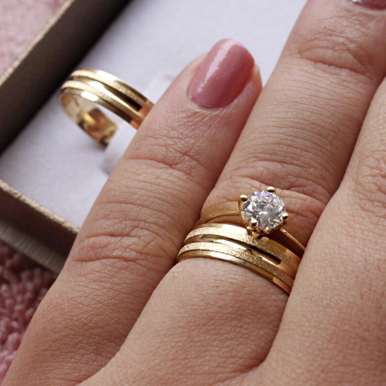 Alianças de Ouro Casamento - Noivado - 3123