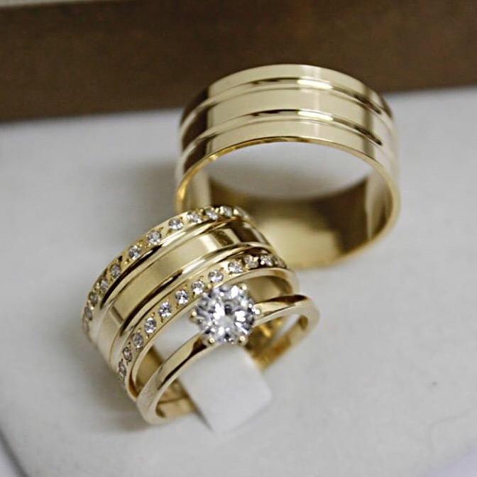 Alianças de Ouro Casamento - Noivado - 3128