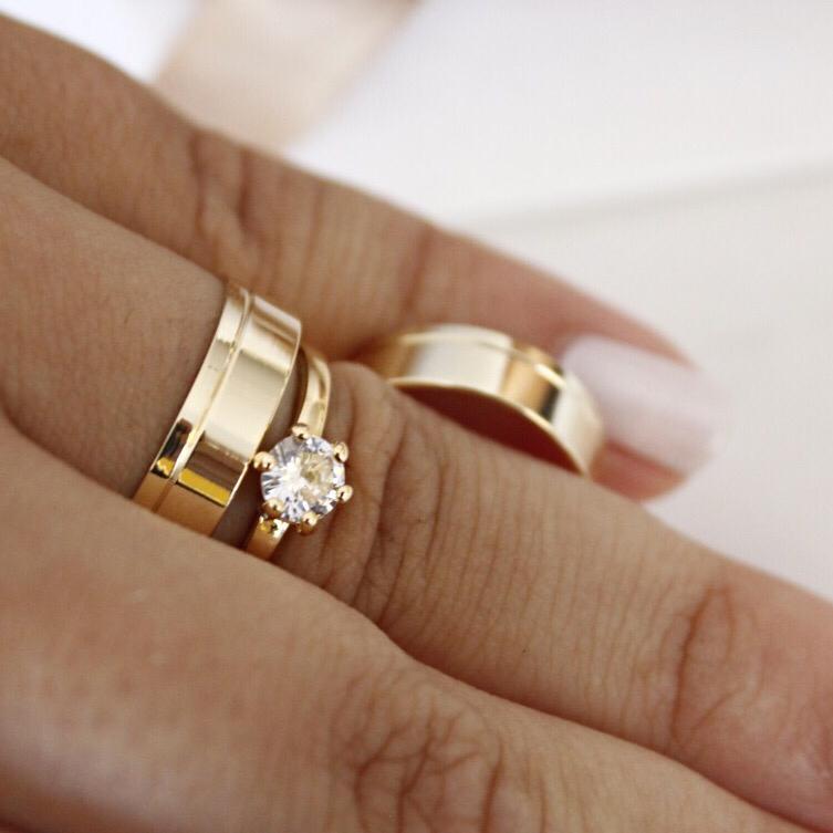 Alianças de Ouro Casamento - Noivado - 3129