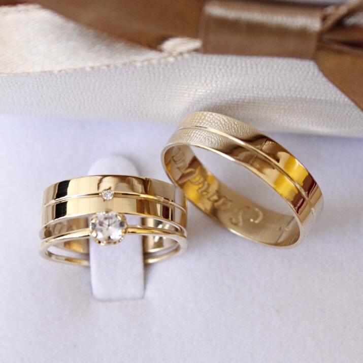 Alianças de Ouro Casamento - Noivado - 3130
