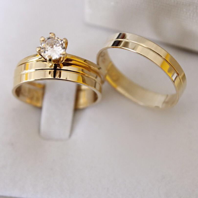 Alianças de Ouro Casamento - Noivado - 3136