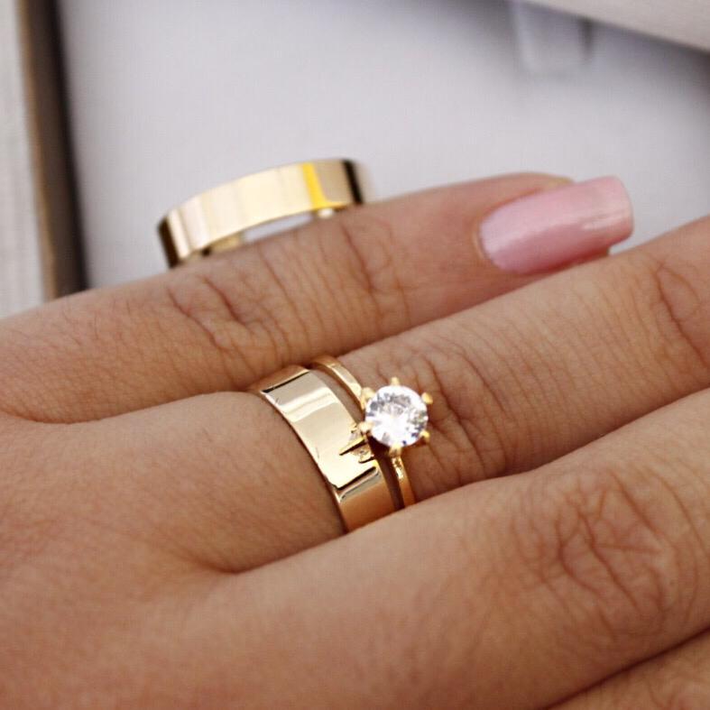 Alianças de Ouro Casamento - Noivado - 3143