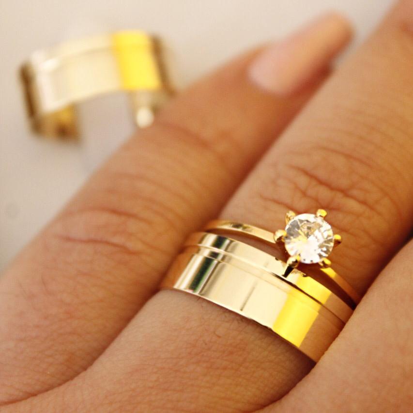 Alianças de Ouro Casamento - Noivado - 3202