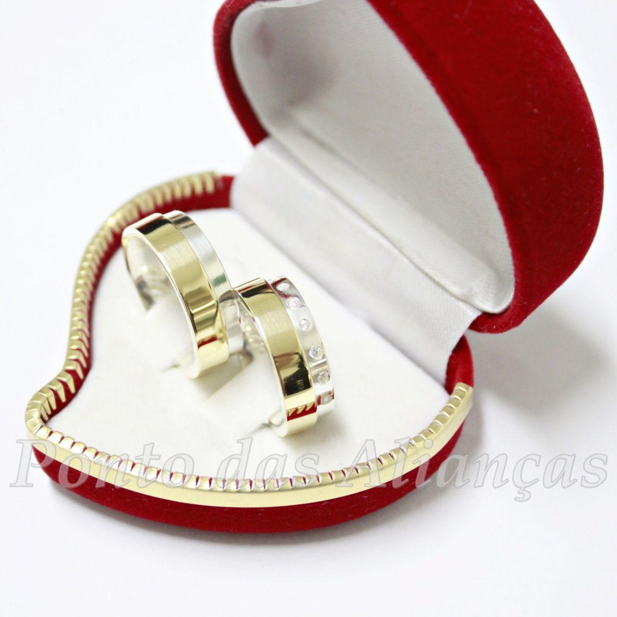 Alianças de Ouro e Prata  Casamento ou Noivado - 522