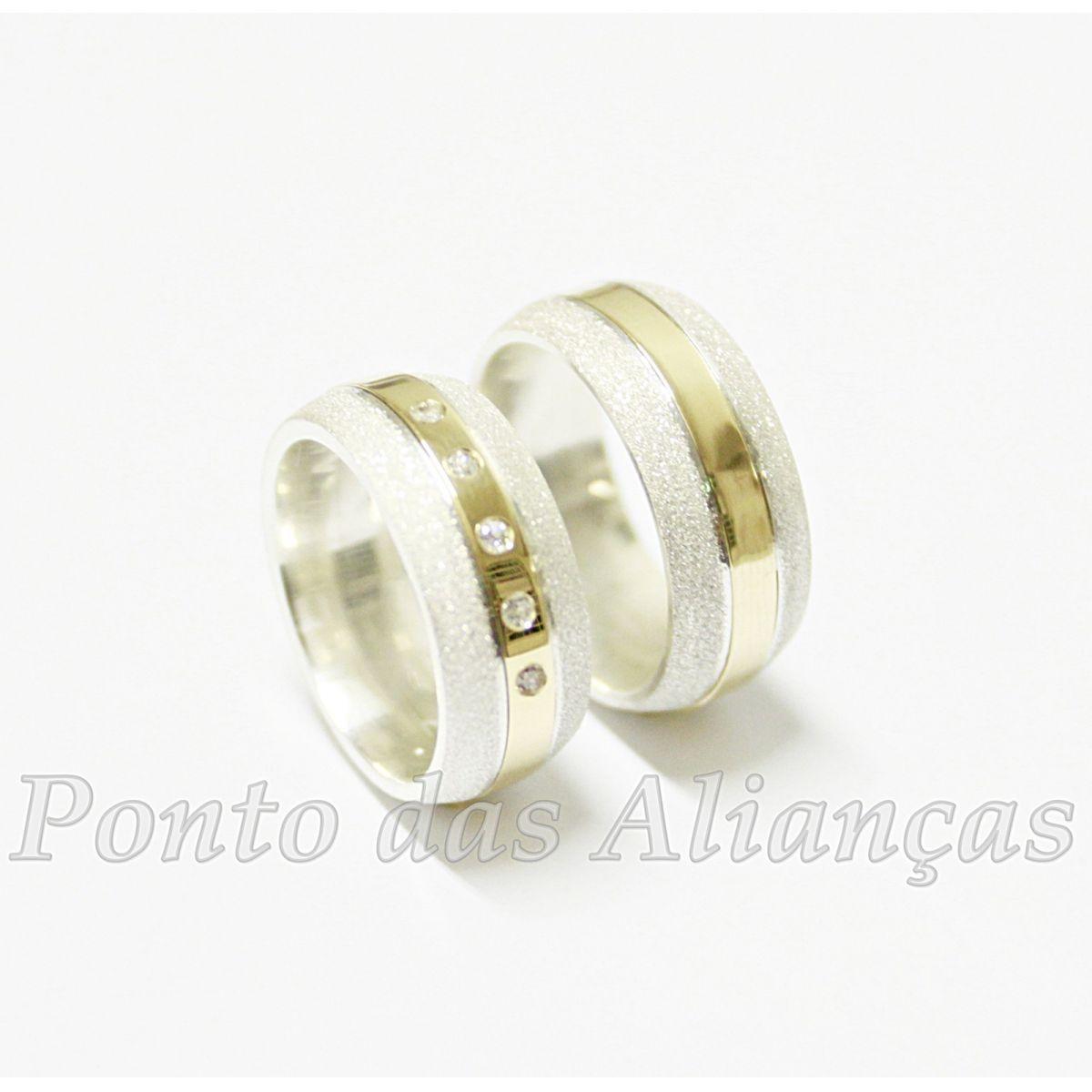Alianças de Ouro e Prata Casamento ou Noivado - 523