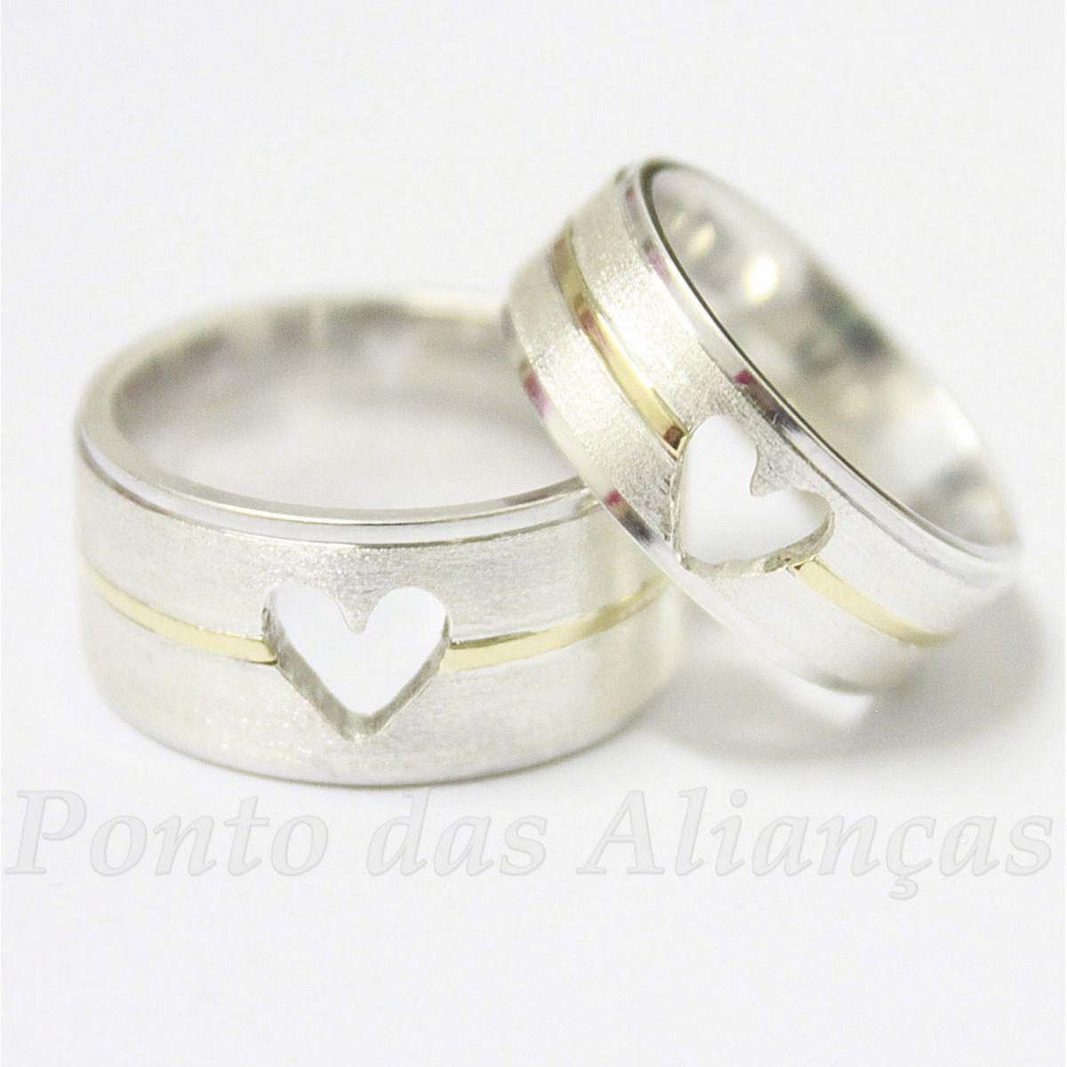 Alianças de Ouro e Prata Casamento ou Noivado - 531