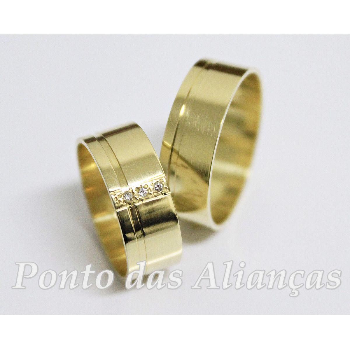 Alianças de Ouro Casamento ou Noivado - 561