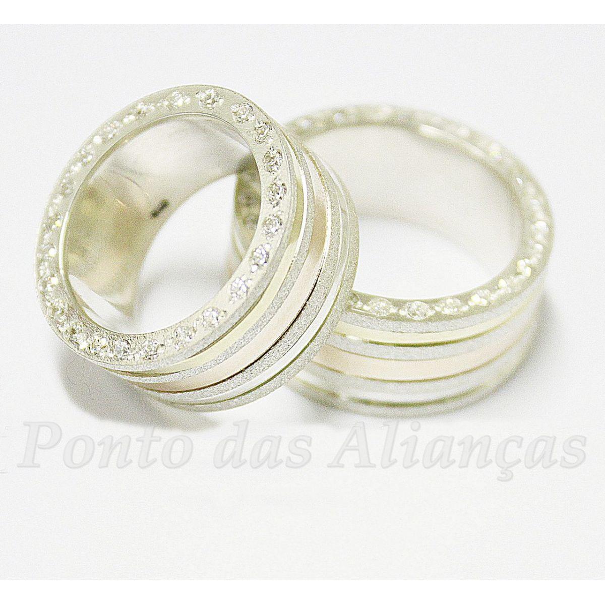 Alianças de Ouro e Prata Casamento ou Noivado - 1007P