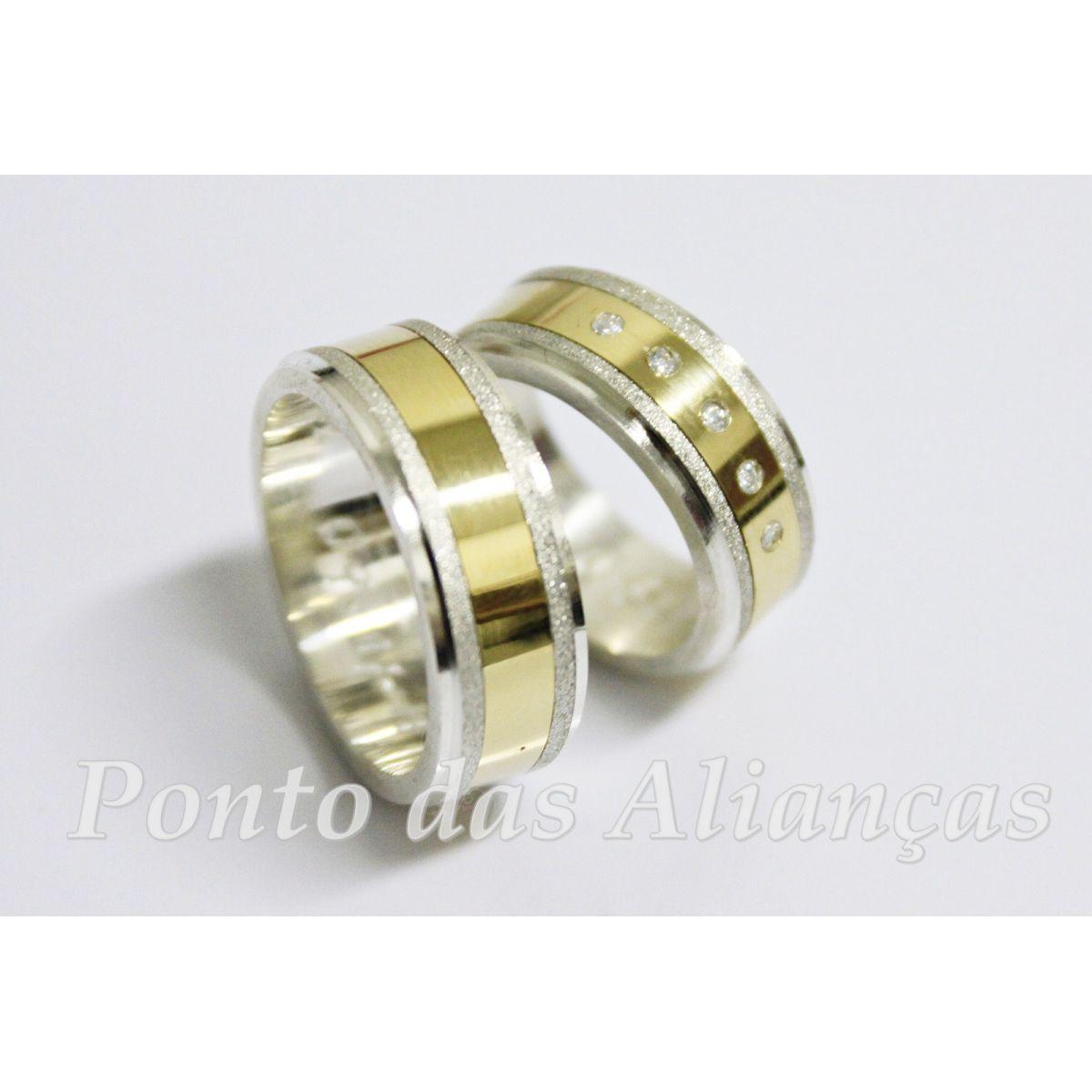 Alianças de Ouro e Prata Casamento ou Noivado 3027