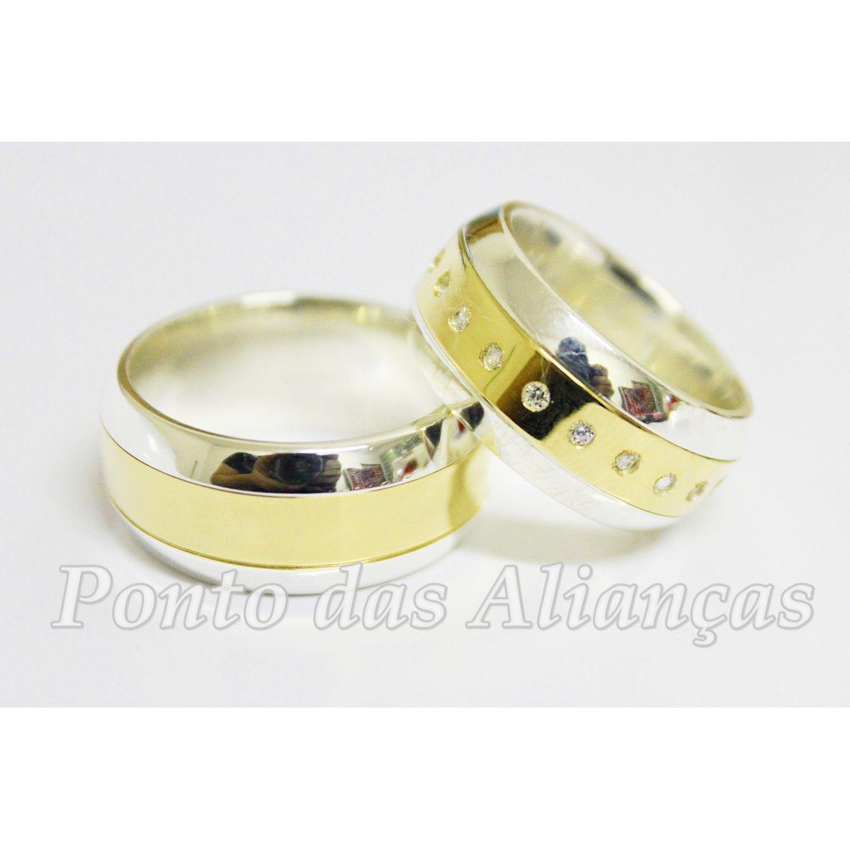 6ba99f2c0 Alianças de Ouro e Prata Casamento ou Noivado - 3030 - Ponto das Alianças  ...